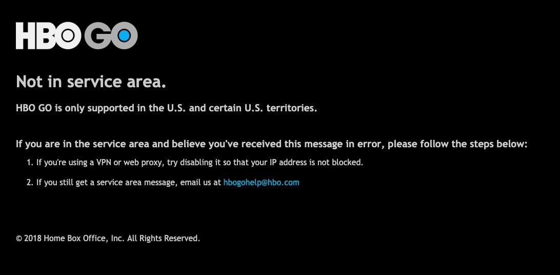 HBO GO error message