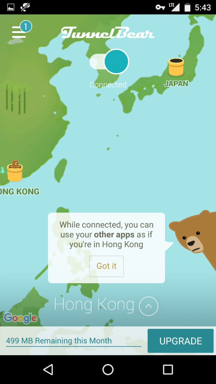 screenshot of TunnelBear Successful connection status
