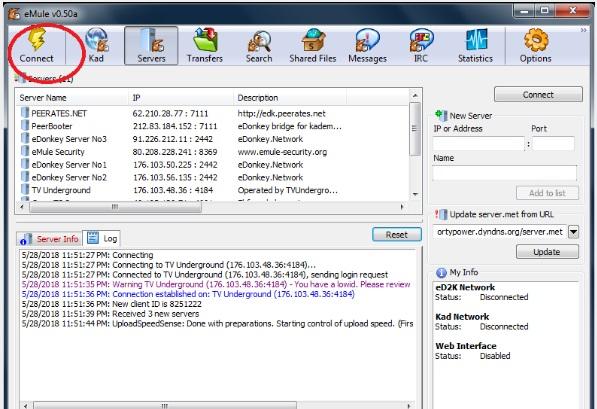 screenshot of eMule UI