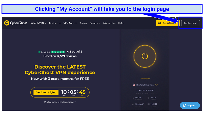 A screenshot of the CyberGhost VPN home page showing where to access the user account