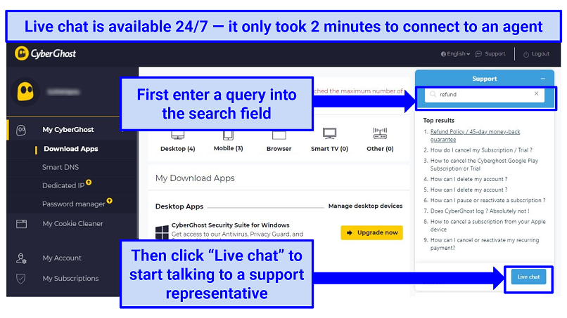 A screenshot of the CyberGhost VPN user interface showing how to activate the live chat