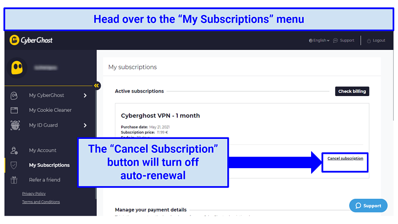 A screenshot of the CyberGhost VPN user interface showing where the user can cancel the VPN subscription