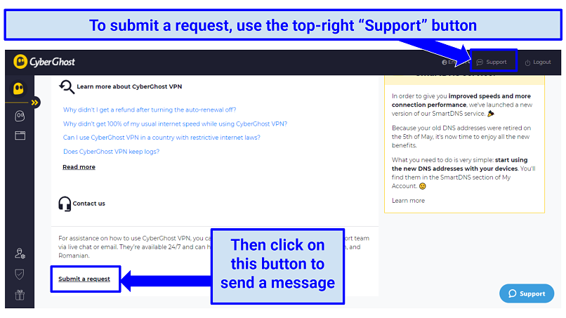 A screenshot of the CyberGhost VPN user interface showing how to submit a VPN service cancelation request