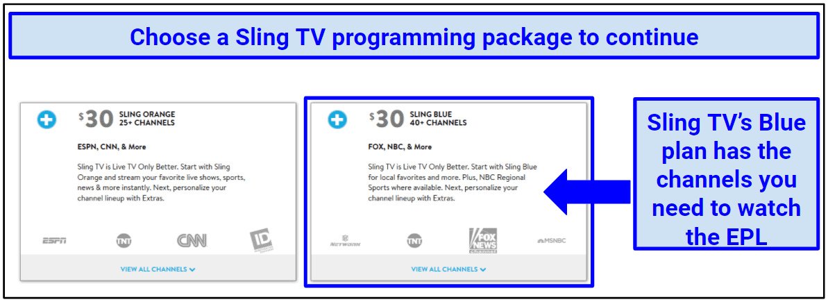 Screenshot showing two different Sling TV subscription options
