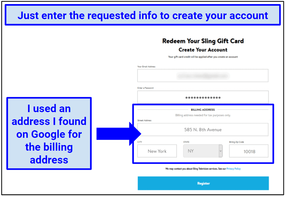 Screenshot showing the gift card registration process for Sling TV