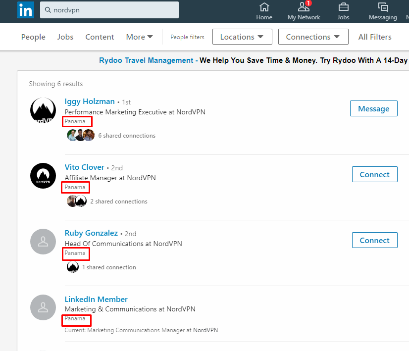 LinkedIn Screenshot of NordVPN employees and their location
