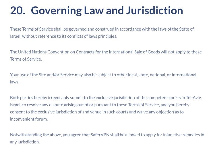 governing law and juridisdiction