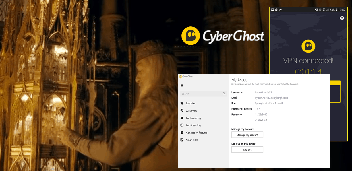 screenshot of Harry Potter playing with CyberGhost UI