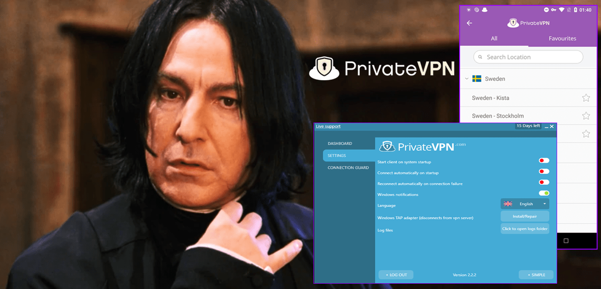screenshot of Harry Potter playing with PrivateVPN UI