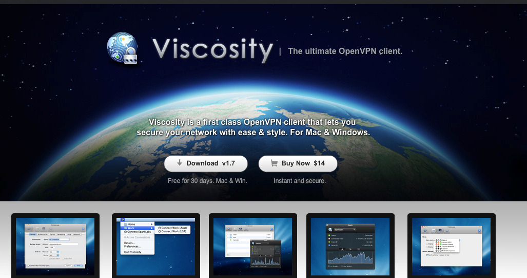 screenshot of Viscosity OpenVPN client download page