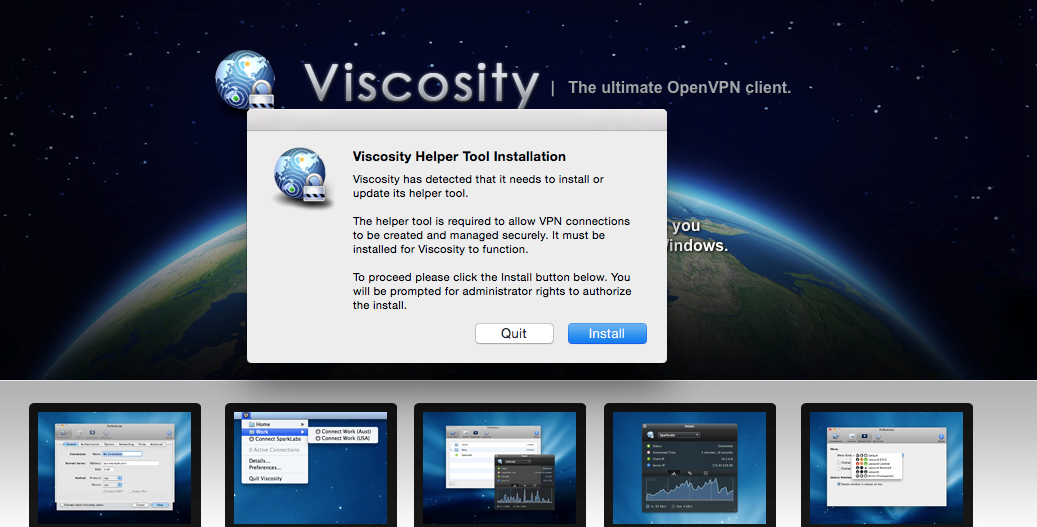 screenshot of macOS Viscosity installer