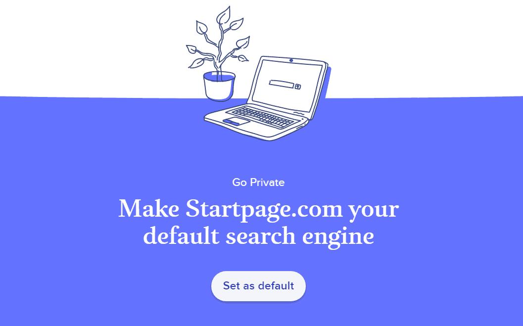 Startpage landing page