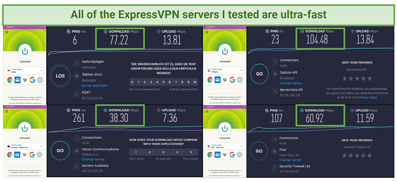 Server speed comparison showing ping, download, and upload speeds between 4 different ExpressVPN servers — Hungary, Serbia, Melbourne, and New York