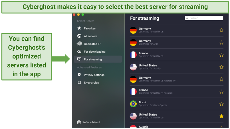 Cyberghost's app displaying its specialty servers, optimized for streaming purposes
