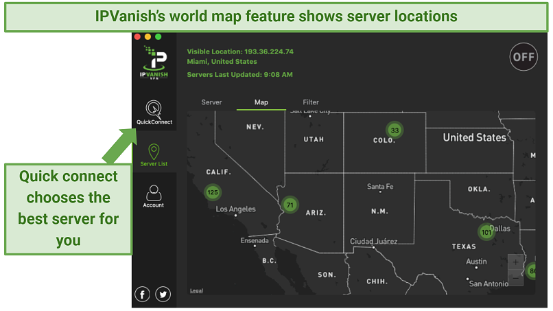 The IPVanish app's world map feature zoomed in on the western side of the US showing server locations and the number of servers in each location — there is also an arrow showing where the quick connect feature is to the left