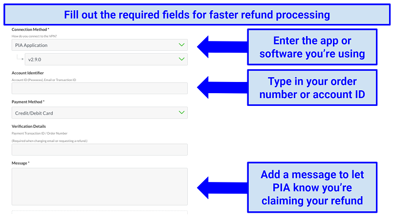 Private Internet Access's contact form asking for customers' connection method, account ID, payment method, verification details, and any additional message which can be typed in a provided field