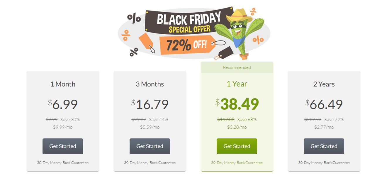 Screenshot of CactusVPN's Black Friday/Cyber Monday Pricing