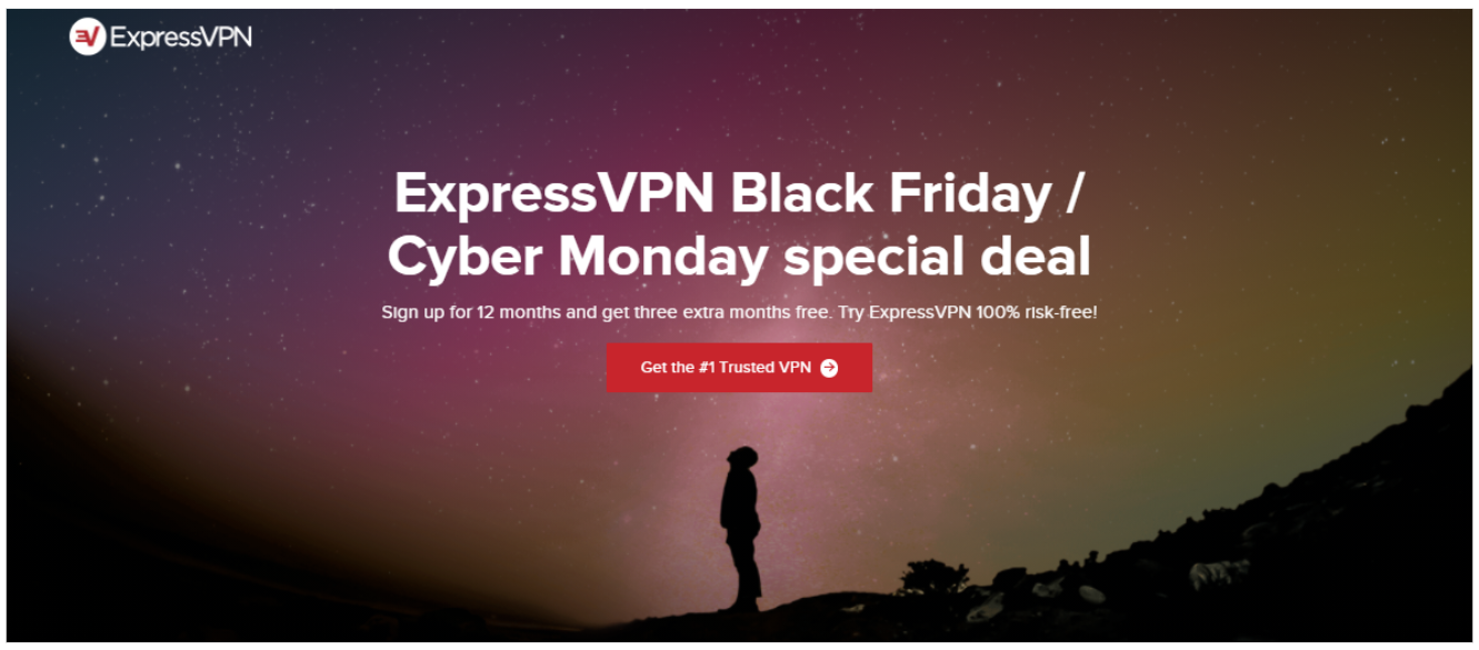 Screenshot of the new Black Friday/Cyber Monday discount from ExpressVPN.