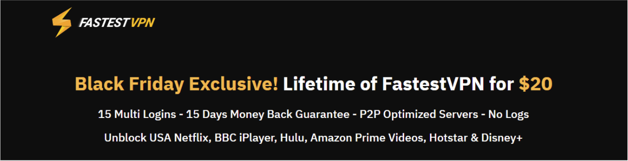 Screenshot of FastestVPN's website, showing its Black Friday discount