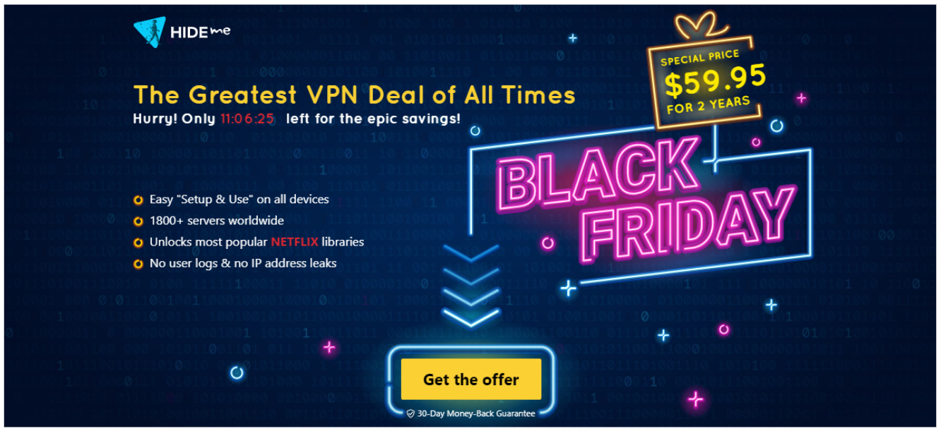 Screenshot of hide.me VPN's Black Friday/Cyber Monday Deal.