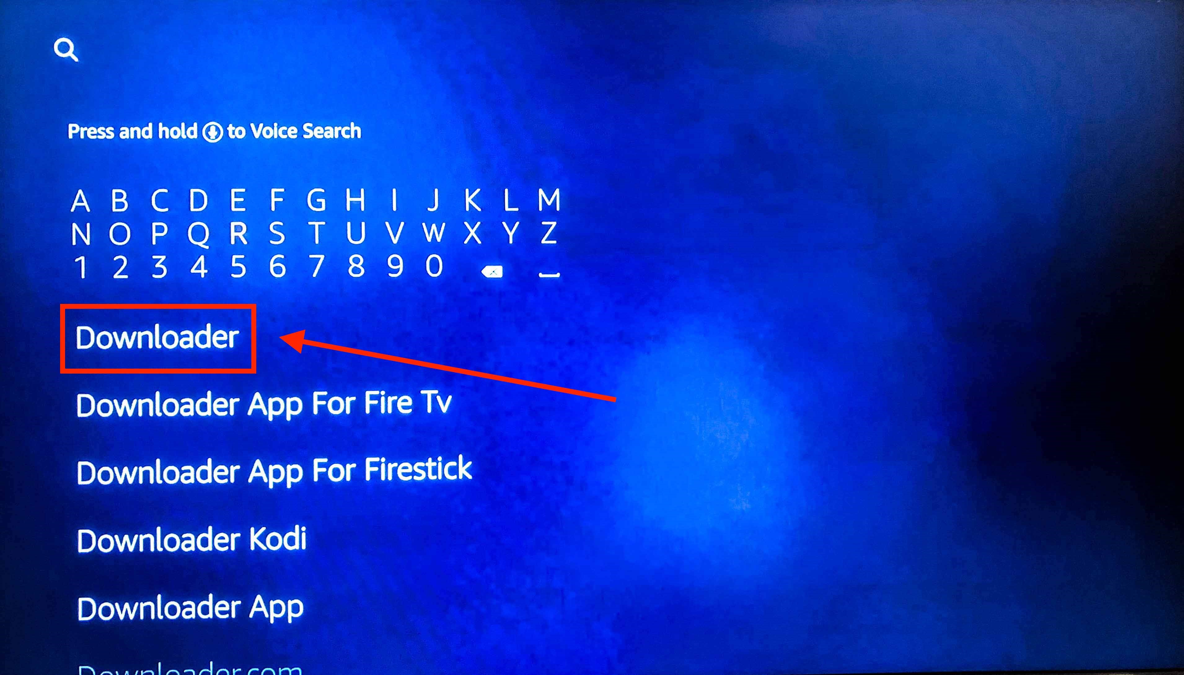 screenshot of Amazon Fire Stick search menu