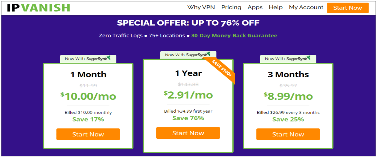Screenshot of IPVanish's Black Friday/Cyber Monday Deal.