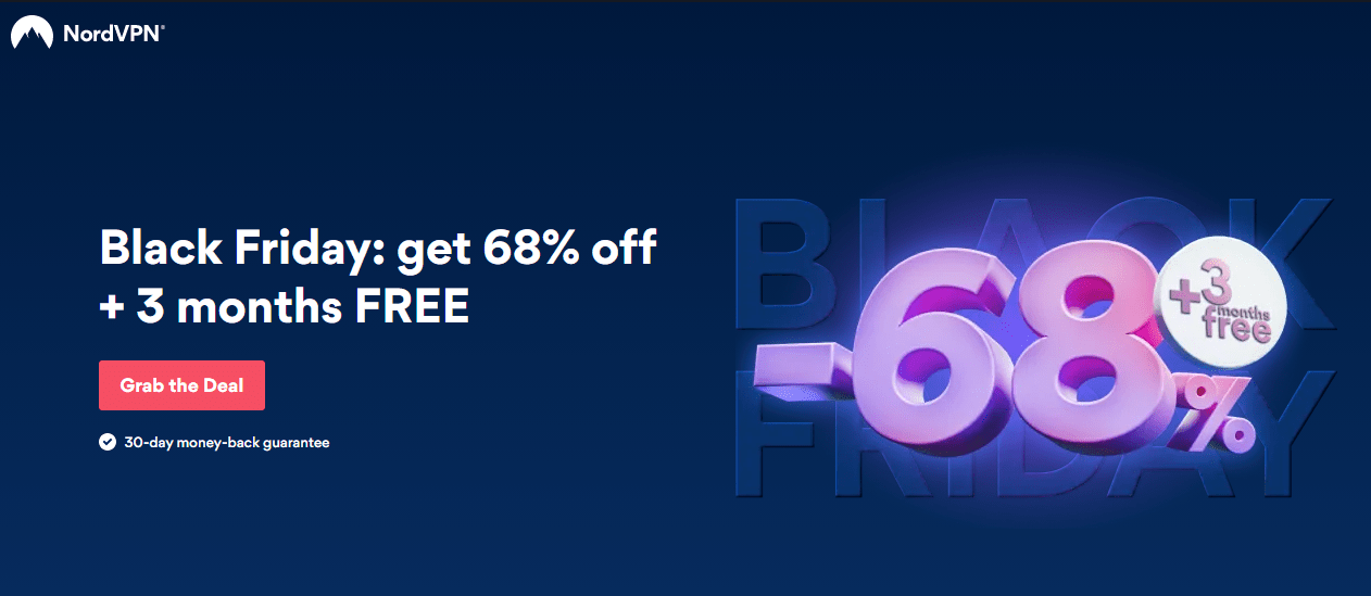 Screenshot of NordVPN's deal for Black Friday/Cyber Monday.