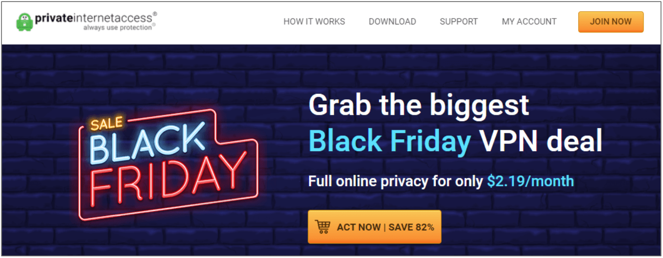 Screenshot of the new Black Friday/Cyber Monday discount from PIA.