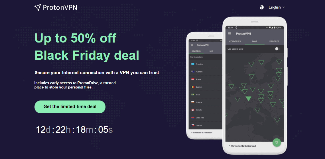 Screenshot of ProtonVPN's Black Friday/Cyber Monday Deal.