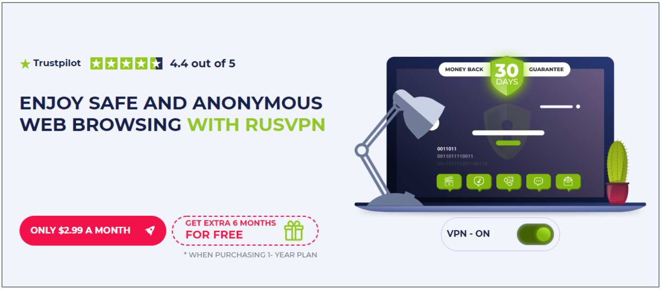 Screenshot of RusVPN's Black Friday/Cyber Monday Deal.