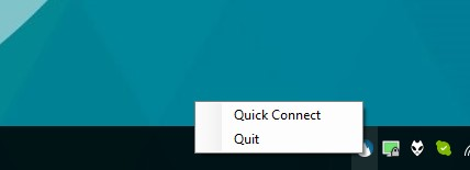 screenshot of Windows' System tray with the NordVPN quick connect feature