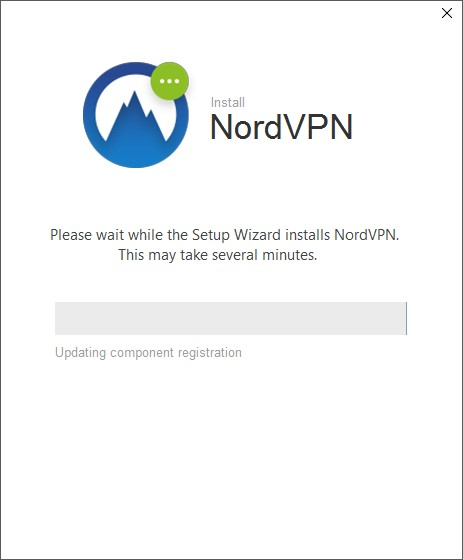 screenshot of NordVPN's Installation progress