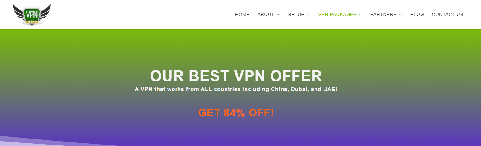 Screenshot of VPNShazam's Black Friday Cyber Monday Discount Page