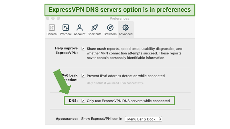 ExpressVPN Alt text: Screenshot showing how to enable the use of ExpressVPN's DNS servers within the app's