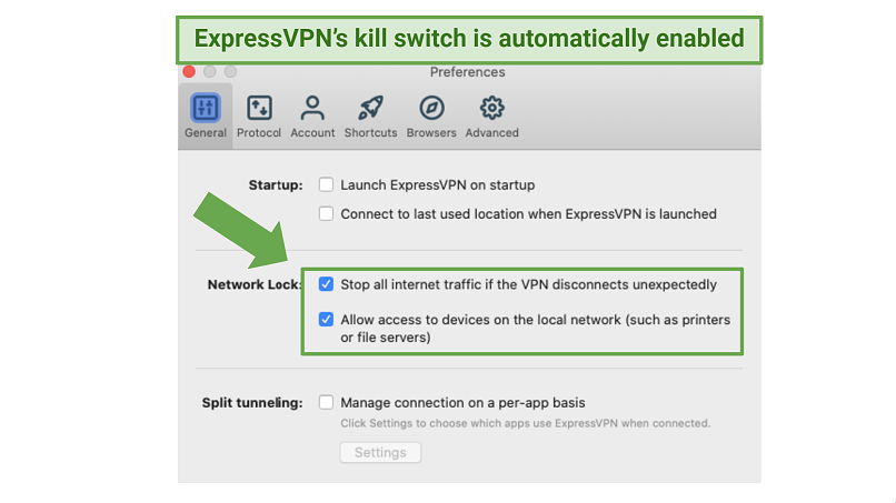 Screenshot showing how to enable ExpressVPN's
