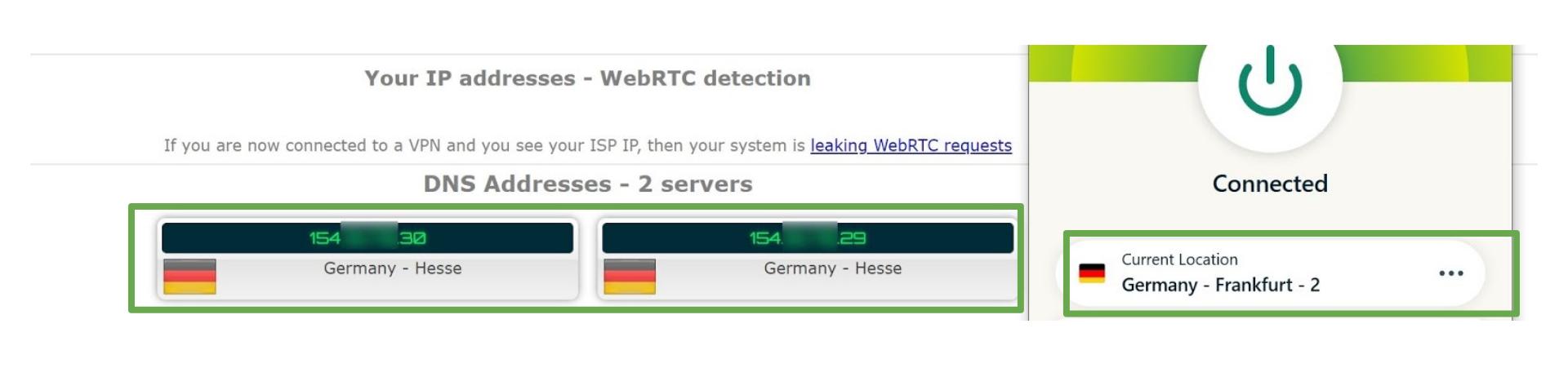Screenshot showing ExpressVPN does not leak DNS address