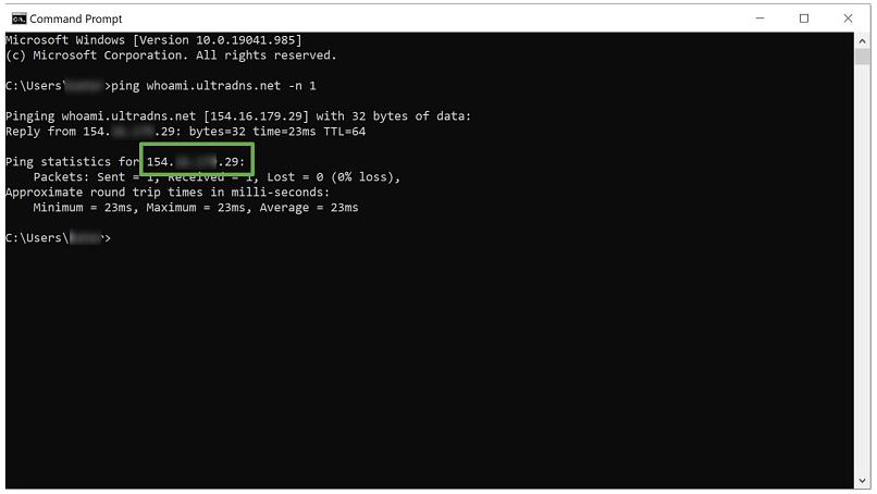 Windows Command Prompt showing no leaks using ExpressVPN