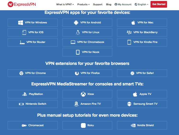 screenshot of ExpressVPN's app compatibility