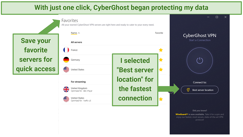 CyberGhost Windows app indicating where to select and save serve