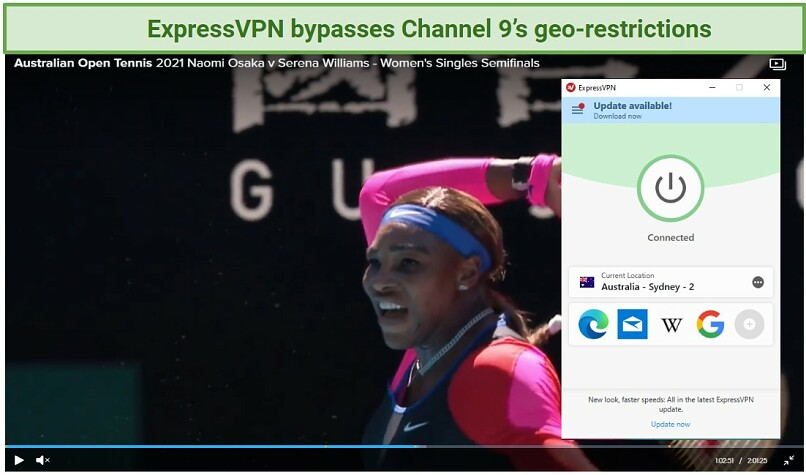 Screenshot of Channel 9 player streaming the Australian Open and ExpressVPN UI