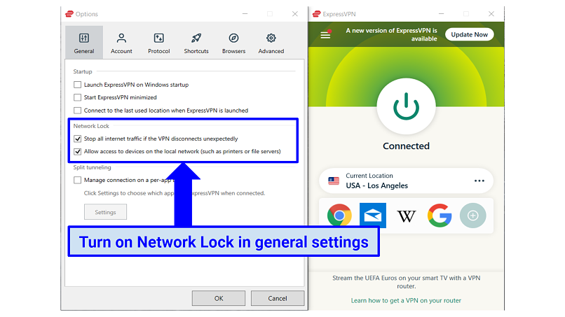 Graphic showing ExpressVPN kill switch