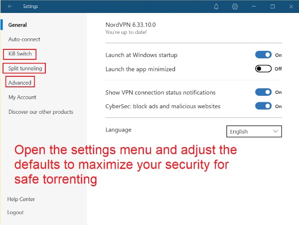 NordVPN security settings