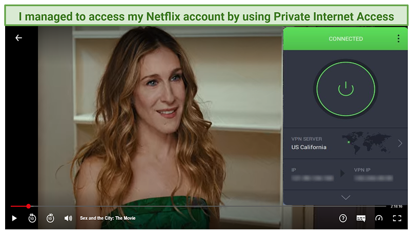 Graphic showing Netflix with PIAmized servers