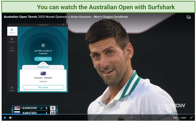 Screenshot of Channel 9 player streaming the Australian Open and Surfshark UI