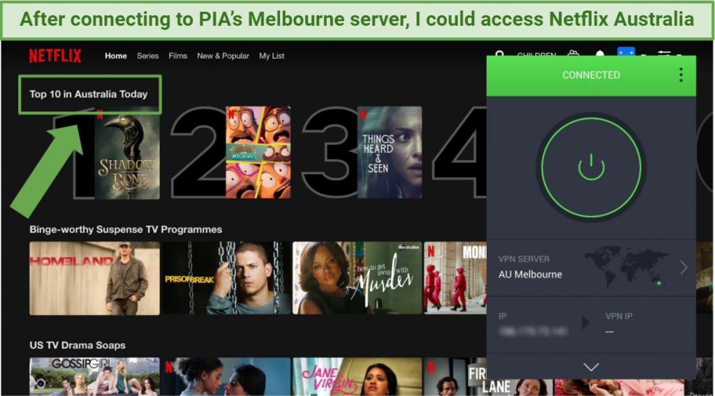 Screenshot showing Private Internet Access VPN app connected to Melbourne server while accessing Netflix Australia