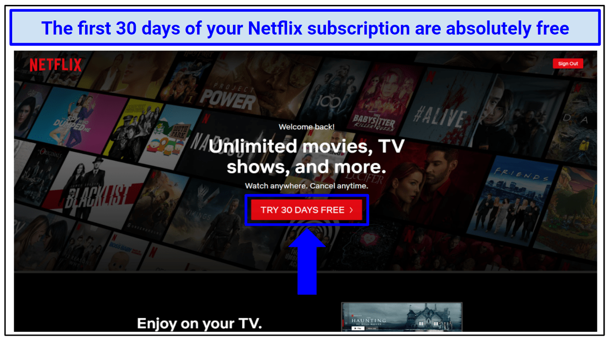 Screenshot showing the free trial button on Netflix homepage.