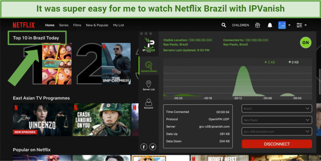 Screenshot showing Netflix Brazil being accessed while connected to the IPVanish app in Sao Paulo