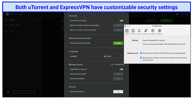 graphic showing utorrent and ExpressVPN settings