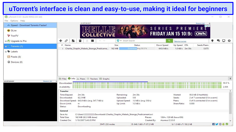 graphic showing uTorrent interface