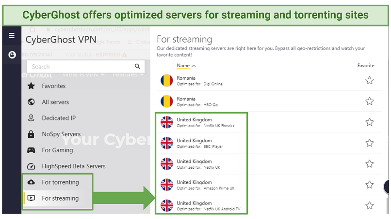 Indicating where to locate CyberGhost's streaming and torrenting-optimized servers within the Windows app